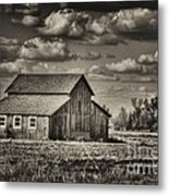 Old Barn After The Storm Black And White Metal Print