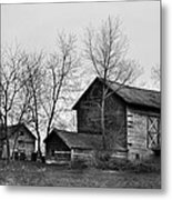 Old Barn In Monochrome Metal Print