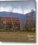 Old Barn In Southern Oregon With Text Metal Print