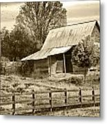 Old Barn Sepia Tint Metal Print