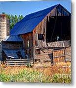 Old Barn With Concrete Grain Silo - Utah Metal Print