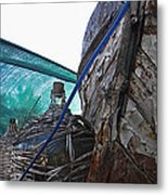 Old Boat And Flagons Metal Print