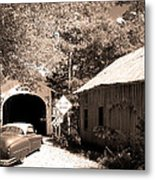 Old Car Older Barn Oldest Bridge Metal Print