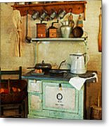 Old Cast Iron Cook Stove Metal Print by Carmen Del Valle