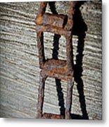 Old Chain And Barn Wood Metal Print