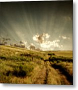 Old Country Road And Sunset Metal Print
