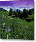Old Couple By Mountainside Cottages Metal Print