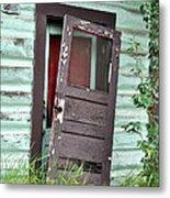 Old Door On Rustic Alaska Cabin Metal Print
