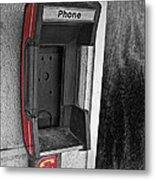 Old Empty Phone Booth Metal Print