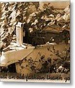 Old Fashion Thank You Card Metal Print
