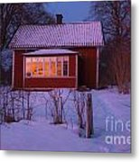 Old-fashioned House At Sunset In Winter Metal Print