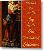 Old Fashioned Santa Christmas Card Metal Print by Lois Bryan