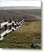 Old Fence And Landscape Along Sir Francis Drake Boulevard At Point Reyes California . 7d9897 Metal Print by Wingsdomain Art and Photography