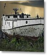 Old Fishing Boat On Shore With Storm Moving In Metal Print