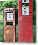 Old Gas Station Pumps Metal Print