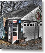 Old Gas Station Signs And A Soon To Be Outdated Phone Booth Metal Print