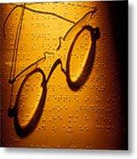 Old Glasses On Braille  Metal Print
