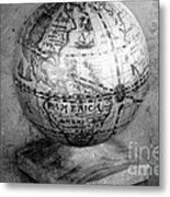 Old Globe In Black And White Metal Print