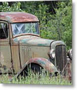 Abandoned Truck In Field Metal Print