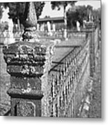 Old Graveyard Fence In Black And White Metal Print