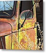 Old Green Truck Door Metal Print