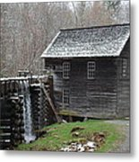 Old Grist Mill With Snow Metal Print