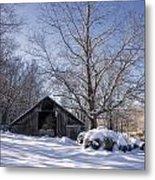 Old Hay Barn In Deep Snow Metal Print