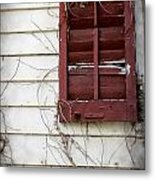 Old House Red Shutter 3 Metal Print