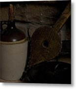 Old Items On A Stone Hearth 1 Metal Print
