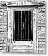 Old Jailhouse Door In Black And White Metal Print