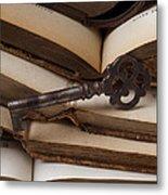 Old Key On Books Metal Print