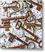 Old Keys And Watch Dails Metal Print