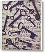 Old Keys On Sheet Music Metal Print