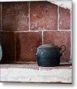 old kitchen - A part of a traditional kitchen with a vintage metal pot  Metal Print