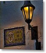 Old Lamp On A Colonial Building In Old Cartagena Colombia Metal Print
