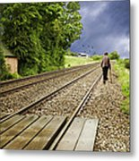 Old Man Walks Along Train Tracks Metal Print