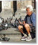 Old Man With Doves Metal Print