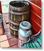 Old Milk Cans And Rain Barrel. Metal Print by Paul Ward