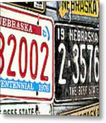 Old Nebraska Plates Metal Print