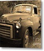 Old Nostalgic American Gmc Flatbed Truck . 7d9821 . Sepia Metal Print