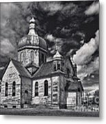 Old Prairie Church And Storm Front Metal Print