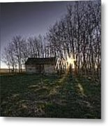 Old Prairie Homestead At Sunset Metal Print