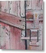 Old Red Barn Door Metal Print