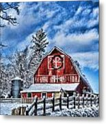 Old Red Barn Hdr Metal Print