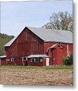 Old Red Barn With Short Silo Metal Print