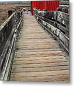Old Red Shack At The End Of The Walkway Metal Print by Wingsdomain Art and Photography