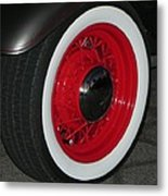 Old Red Spoke Metal Print