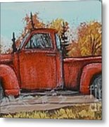 Old Red Truck Going Down The Road Metal Print