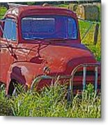 Old Red Truck Metal Print