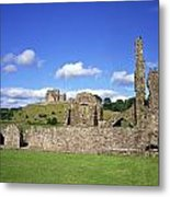 Old Ruins Of An Abbey With A Castle In Metal Print